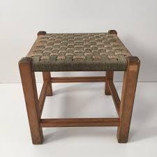 vintage boho woven shabby chic stool ancien tabouret tressé