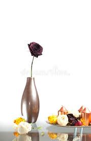 Modern Flower Vase Arrangements Metallic Vase With One Rose Flower On The Table Over White Modern