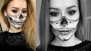 Halloween Skull Makeup Tutorial Half Skull Makeup Tutorial Youtube