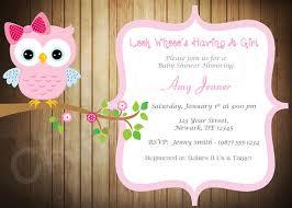 wood owl baby shower invitation pink owl baby shower invite