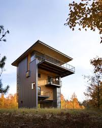 modern lake house awesome tower house uphill built of birch wood and steel with