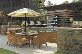 Patio Dining Set With Umbrella Outdoor Dining Set With Patio Umbrella Wicker Chairs In N Dura