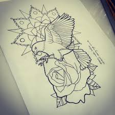 flying bird with rose and mandala flower tattoo design