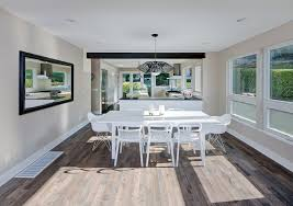 looking espresso hardwood floors with wood trim mixed dining