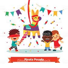 children celebrating posada by breaking pinata stock vector
