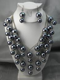 pearl necklace pictures images Bling pearl necklace and earring set grey luv catz jpg