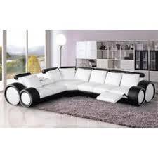 canapé ultra design canapé d angle gauche en simili cuir de coloris noir et blanc