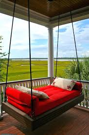 outdoor porch bed swing red hanging porch bed outsunny covered