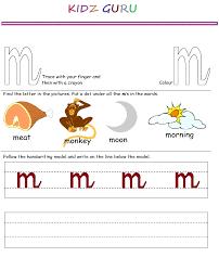 kindergarten worksheets printable handwriting worksheet alphabet m