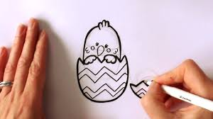 how to draw a cartoon easter popping out of an easter egg