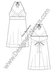 v59 surplice halter dress illustrator flat fashion sketch template
