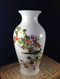 vintage oriental vase with pheasant and flowers 24k gold trim made