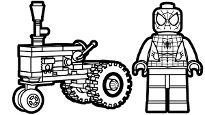 lego spiderman and lego tractor coloring pages coloring book kids