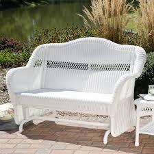 Outdoor Glider Chair White Resin Wicker Outdoor 2 Seat Loveseat Glider Bench Patio