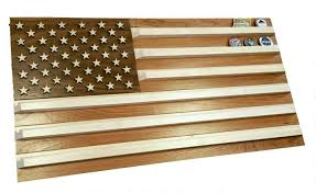 wooden united states wall united states flag challenge coin holder cherry maple and