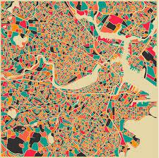 Maps Boston Jazzberry Blues City Maps Ilustración Illustration Woodcut