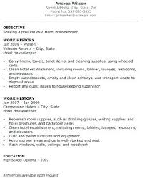 exle of resume objectives resume for hotel sle resume for housekeeping in hotel