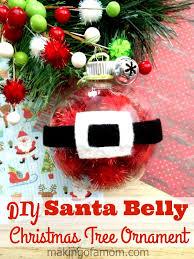 diy santa belly tree ornament of a