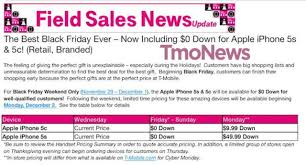 best iphone deals for black friday t mobile black friday 2013 deal 0 down for iphone 5s and iphone