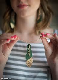 diy leather necklace images Diy leather feather earrings lia griffith jpg