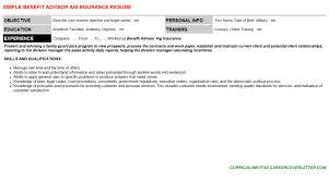 benefit advisor aig insurance cover letter u0026 resume