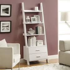 Leaning Book Shelf Furniture Inspiring Leaning Ladder Shelf For Saving Space Storage