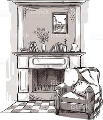 An Armchair Fireplace And An Armchair A Cozy Place At Home Stock Vector Art