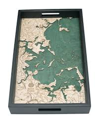 Boston Harbor Map by Custom Wood Charts Of Boston Harbor Serving Tray From Carved Lake