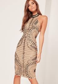 embellished dress premium halterneck sequin embellished midi dress gold missguided