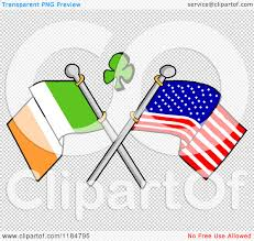 cartoon of a shamrock over crossed irish and american flags