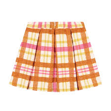 Il Gufo Girls Burnt Orange Pink And Yellow Tartan Print Skirt For