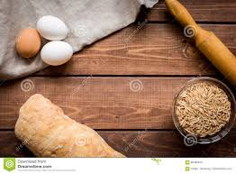 Wooden Kitchen Table Background Baking Bread Ingredients On Wooden Table Background Stock Photo