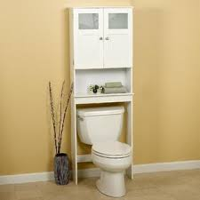 White Space Saver Bathroom Cabinet by Zenith Products Wood Spacesaver Bath Storage With Glass Doors White