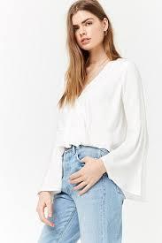 sleeve white blouse surplice bell sleeve blouse forever21