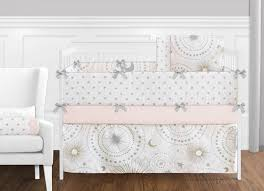 celestial pink and gold crib bedding collection