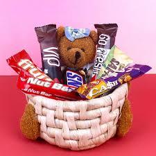 chocolate basket teddy imported chocolate basket gaicou0399gal17 giftalove