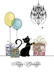 black cat birthday card gifts balloons and cats perfect