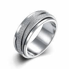 gear wedding ring jajafook 8mm unisex stainless steel finger spinner gear silver