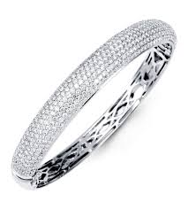 white gold bracelet bangles images Pave diamond cuff bracelet hd solid k white gold bangle pave round jpg