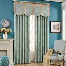 Aqua And Grey Curtains European Style Aqua Polyester Jacquard Modern Curtains Without