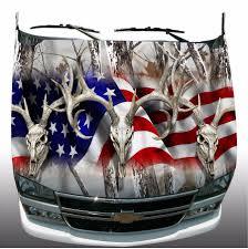 hunting truck decals snow camo american flag deer skull hunting hood wrap sticker vinyl