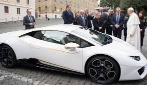 luxury sports cars pope auctions white lamborghini to help iraq u0027s is hit christians