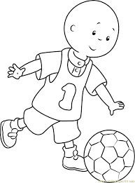 caillou playing football coloring page free caillou coloring