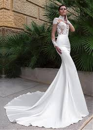 wedding dresses high buy discount wonderful tulle satin illusion high neckline