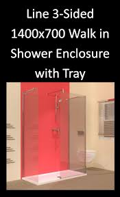 line 3 sided 1400 x 700 walk in shower enclosure with tray one