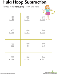hula hoop three digit subtraction with regrouping worksheet