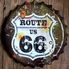 home decor beer cap wall decoration route us 66 old shabby metal