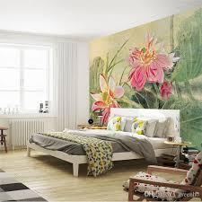 Vintage Lotus Painting Photo Wallpaper D Flower Wall Mural Custom - Flower designs for bedroom walls