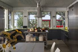Chicago Corrugated Metal Backsplash Kitchen Industrial With Walls - Corrugated metal backsplash