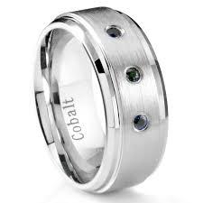 sapphire and wedding band cobalt chrome 8mm 3 blue sapphire wedding band ring w stepped edges